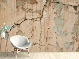 acked flaking white paint. Cracked weathered concrete wall wide texture. Background for wallpaper.