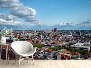 Antwerp, Belgium - July 12, 2019: Aerial view of the city of Antwerp in Belgium on a sunny summer day.