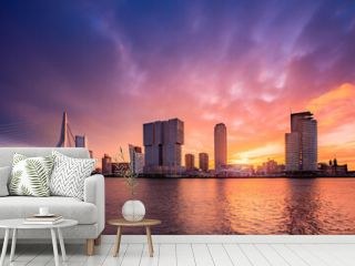 Colorfull sunrise at the skyline of Rotterdam