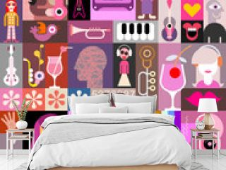 Pop Art Collage vector illustration Pop art vector collage of characters, people avatars, different objects and abstract shapes. Can be used as a seamless background.