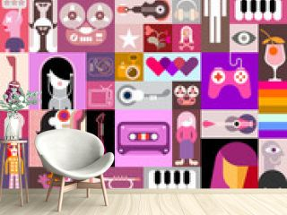 Pop art vector collage of characters, people avatars, different objects and abstract shapes. Can be used as a seamless background.