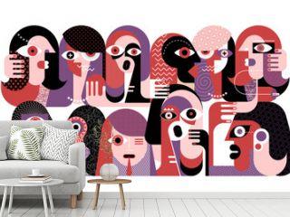 Large group of strange people modern abstract art vector illustration.