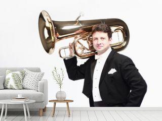 Tuba player brass instrument. Classical musician portrait