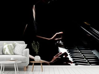 Piano player. Pianist playing grand piano concert