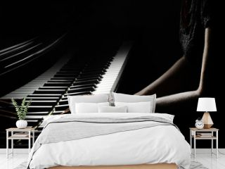 Piano player hands keyboard. Pianist hand playing piano keys