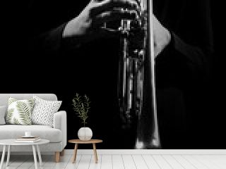 Trumpet player hands playing jazz music instrument