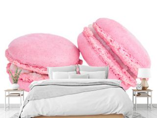 two pink macaroons isolated on white background