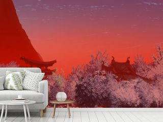 Japanese panorama. Chinese style structures. Digital art illustration. Beautiful landscape.  Japan architecture. 3D illustration.