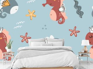 Seamless pattern with seahorses.