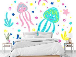Cute jellyfish swim underwater with algae, shells and starfish. Children's illustration. Vector.