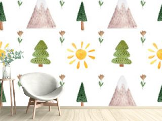 Seamless pattern with watercolor illustrations of mountains, trees, sun in Scandinavian style.