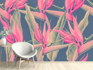 Seamless pattern with Tropical flowers and leaves design. Stylish trendy fashion floral pattern