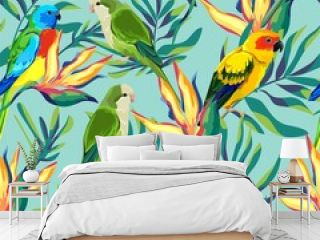Pattern with beautiful parrots and exotic tropical flowers leaves. Birds background Vector Illustration.