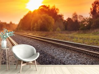 Railway track in the evening in sunset