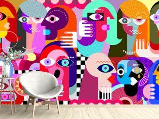 Digital painting of a large group of strange people. Modern art graphic illustration.