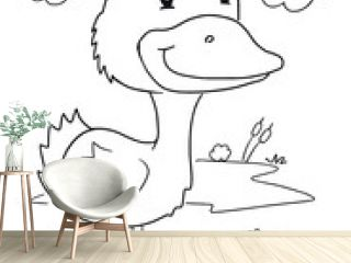 Cute Duck Coloring Page Vector Illustration Art