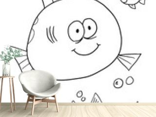 Cute Fish Coloring Page Vector Illustration Art