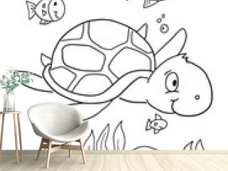 Summer Sea Turtle Coloring Book Page Vector Illustration Art