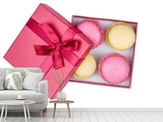 Red box with macarons isolated on white background. Top view