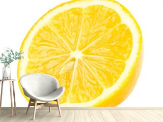 Half lemon with seed isolated on white background.