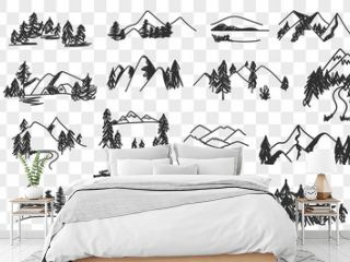 Mountains valley landscapes doodle set. Collection of hand drawn various sceneries and views of natural forest and mountains landscapes in rows isolated on transparent background