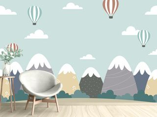 Seamless background design with mountains, forests, clouds, and hot air balloons. Cartoon style landscape illustration. For poster, web banner, kids room wall paper, etc.