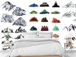 Mountain icons set, Mountain Peaks, Snowy Mountain Peaks, Mountains and Hills, Realistic or Stylized, Mountain Shapes For Logos, hand drawn mountain peaks set collection, Mountain Silhouette Clipart
