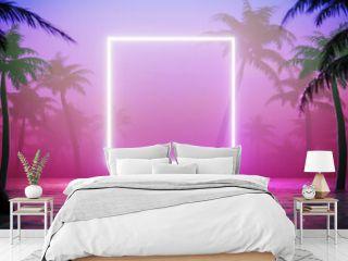 Jungle neon background. Vapor wave tropical background concept.