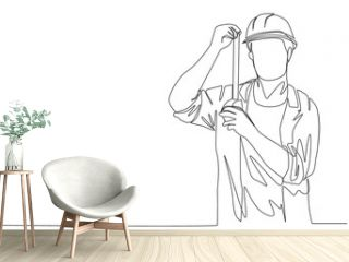Single continuous line drawing of young handsome handyman measuring the length of the wall using measurement tape. Home renovation service concept one line draw design illustration