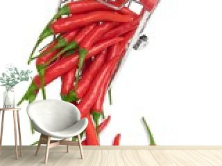 Red chili pepper and green chili on table. Red chili peppers.