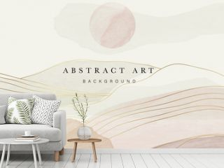 Mountain oriental style background vector. Chinese and Japanese oriental line art mountain and sun with  watercolor texture. Natural abstract art. Home deco, wall arts for prints and cover template.