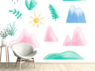 border seamless pattern childrens illustration with balloons, mountain landscape, trees, forest, houses in the mountains, clouds, watercolor illustration pastel gentle colors