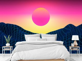 Futuristic neon sunset mountain landscape. Retro digital background illustration. 3D Render