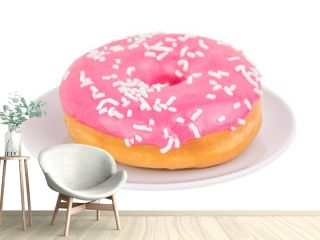 Pink donut on a plate isolated on white background