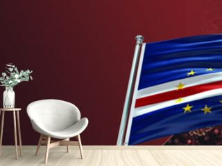 Cape Verde Flag with Coronavirus Covid-19 in Blood and large Gradient Single Flag