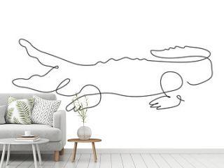 Crocodile one line. outline. continuous line. Vector illustration