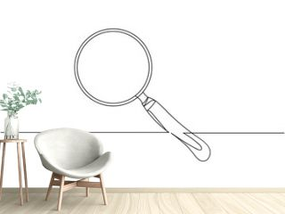 Continuous one line of magnifying glass in silhouette. Linear stylized. Minimalist.