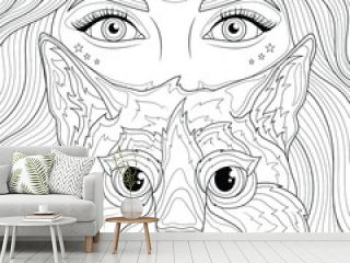 Girl and cat.Coloring book antistress for children and adults. Illustration isolated on white background.Zen-tangle style. Hand draw
