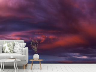 Dramatic panorama of vibrant sunset with burning sky
