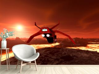 super drone is passing by on red planet rear view