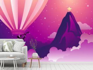Illustration Business Concept Businessman Hot Air Balloon Looking Star Mountain Peak