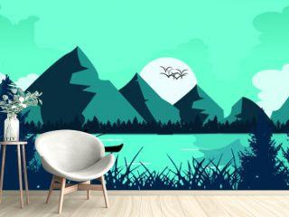Nature landscape vector illustration, texture, mountains, trees, birds, boat