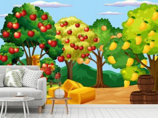 Farm scene with many different fruits trees at day time