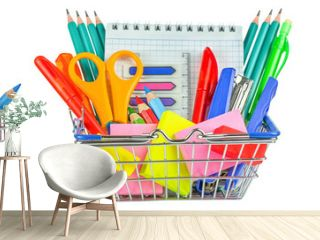 Set of school supplies in a shopping backet isolated on white background. Back to school concept