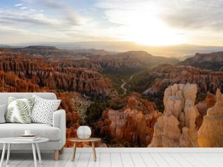 Beautiful sunrise of the Inspiration Point of Bryce Canyon National Park