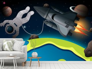 Astronaut and spaceship in space scene