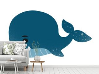 friendly blue whale cartoon character isolated on white background, vector illustration