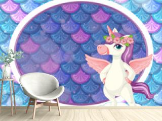 Oval frame template on blue fish scales background with cute unicorn cartoon character