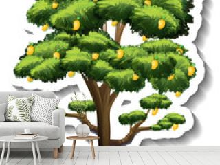 A mango tree sticker on white background