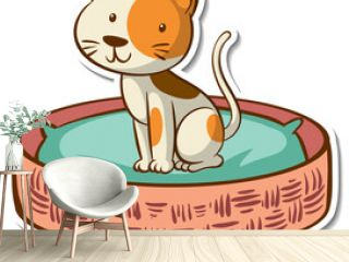 Cartoon character of a cat in basket bed sticker